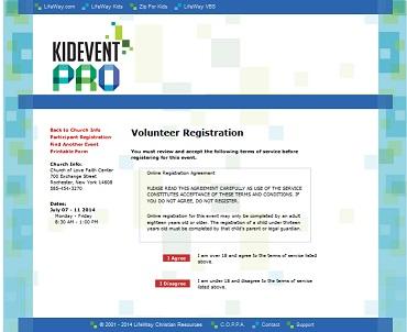 vbs Registration volunteer